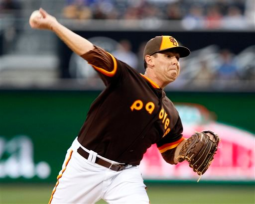 San Diego Padres starting pitcher Tim Stauffer pitches in the first inning of a baseball game against the Chicago Cubs, Friday, May 23, 2014, in San Diego. (AP Photo/Don Boomer)