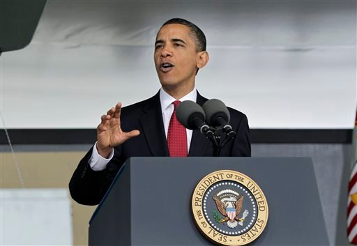 In this May 22, 2010, file photo, addressing the graduates of the U.S. Military Academy, President Barack Obama outlined a foreign policy vision using diplomacy and a strong military together, in West Point, N.Y.