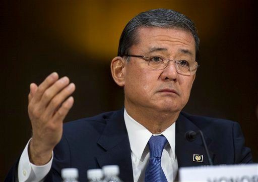 This May 15, 2014 file photo shows Veterans Affairs Secretary Eric Shinseki testifying on Capitol Hill in Washington.
