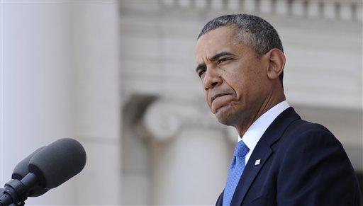 President Barack Obama speaks at Arlington National Cemetery in Arlington, Va., Monday, May 26, 2014.