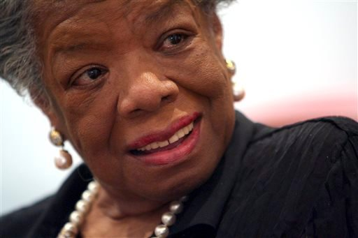 March 4, 2008 file photo, American poet and noevlist Maya Angelou smiles during an interview with The Associated Press in New York. Angelou has died, Wake Forest University said Wednesday, May 28, 2014. She was 86. (AP Photo/Mary Altaffer, File)