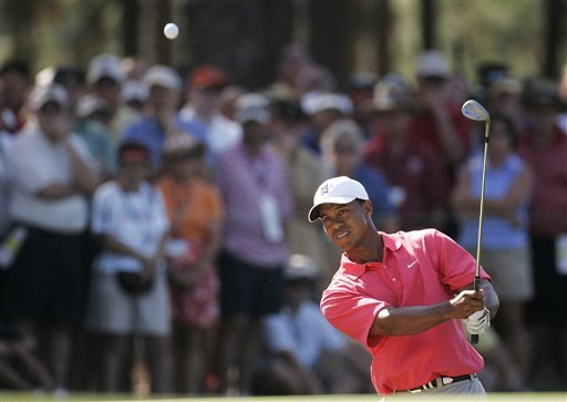FILE - In this June 16, 2005, file photo, Tiger Woods chips to the 15th hole during the first round of the U.S. Open golf tournament, at Pinehurst's No, 2 Course in Pinehurst, N.C. (AP)