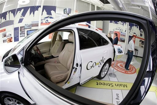 In this photo taken Wednesday, May 14, 2014, a Google self-driving car is shown in an exhibit at the Computer History Museum in Mountain View, Calif.