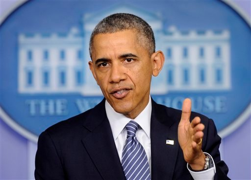 President Obama makes a statement in the Brady Press Briefing Room of the White House in Washington May 30, 2014, following his meeting with Veterans Affairs Secretary Shinseki. (AP Photo/Susan Walsh)