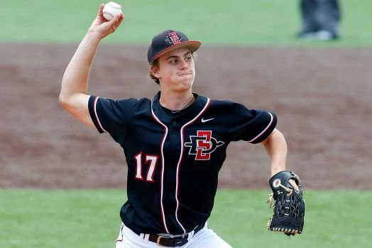 Photo By Jonathan Bachman/AP  San Diego State pitcher Mark Seyler (17) pitches the ball in the second inning during an NCAA college baseball regional tournament game against Mississippi St. in Lafayette, La., Friday, May 30, 2014.