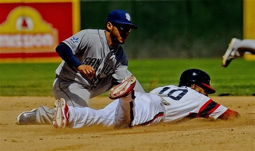 Chicago White Sox' Alexei Ramirez steals second base against San Diego Padres' Alexi Amirista during the fourth inning of a baseball game on Saturday, May 31, 2014, in Chicago. (AP Photo/Matt Marton)