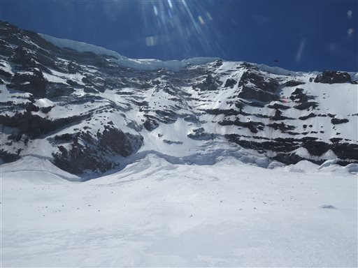 This photo provided by the National Parks Service, shows the Liberty Ridge Area of Mount Rainier as viewed from the Carbon Glacier, Saturday, May 31, 2014, in Washington State. (AP Photo/National Park Service)
