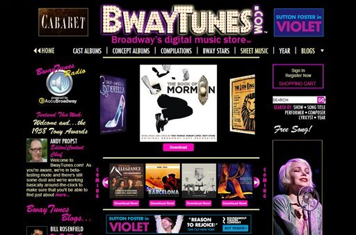 This screen image provided by BwayTunes.com shows the home page to their new digital theater music site.