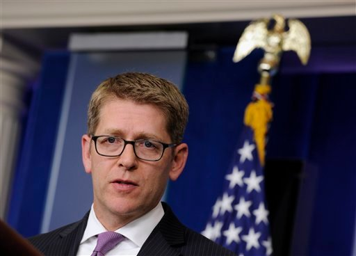 White House press secretary Jay Carney speaks during the daily briefing at the White House in Washington, Monday, June 2, 2014.