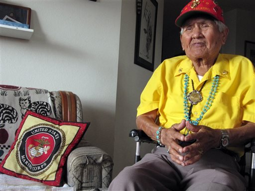 FILE - This Nov. 29, 2009, file photo, shows Chester Nez talking about his time as a Navajo Code Talker in World War II at his home in Albuquerque, N.M. (AP)