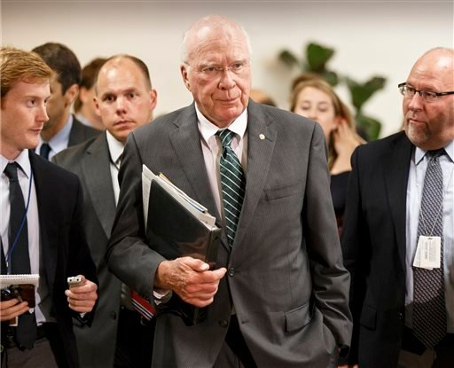 Senate Judiciary Committee Chairman Patrick Leahy, D-Vt., the president pro tem of the Senate, walks to a closed-door briefing with intelligence officials. (AP)