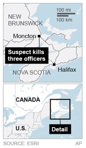 Map locates Moncton, Canada. (AP)
