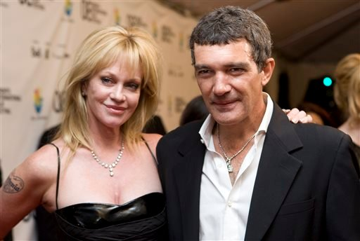 "FILE - This Sept. 7, 2008 file photo shows actors Antonio Banderas, right, and his wife Melanie Griffith at the Gala premier of ""The Other Man"" at the Toronto International Film Festival in Toronto. (AP)"