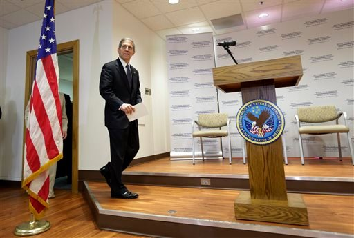 Acting Secretary of Veterans Affairs Sloan Gibson takes the stage to speak to the media during a visit to the Audie L. Murphy VA Medical Center, Friday, June 6, 2014, in San Antonio. (AP)