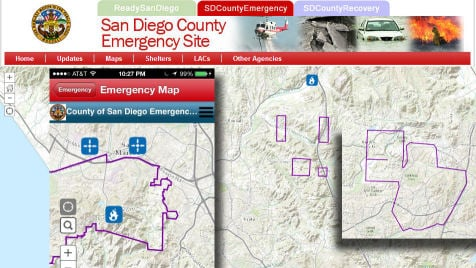 The SD County website only showed emergency notification zones in purple during the first two days of the wildfires.