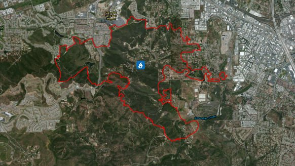 Fire perimeter maps in red were added to the county emergency website later.