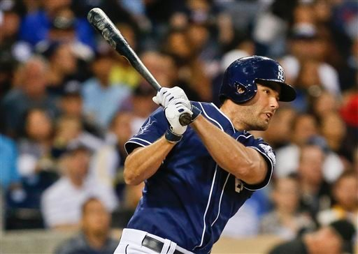 San Diego Padres' Seth Smith collects his second hit of the game with a line drive single to right that would lead to a run against the Washington Nationals during the fourth inning of a baseball, game Saturday, June 7, 2014, in San Diego.