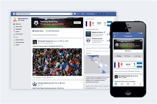 """This undated image provided by Facebook shows the social network's """"Trending World Cup"""" special feature."""
