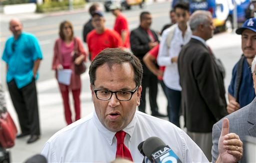 Alex Caputo-Pearl, president elect of United Teachers Los Angeles, takes questions on about the verdict of the Vergara v. California lawsuit in Los Angeles Tuesday, June 10, 2014. (AP)
