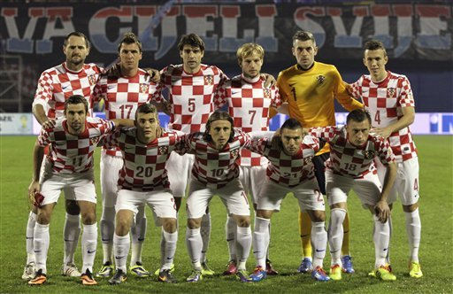 FILE - In this Nov. 19, 2013 file photo, Croatia soccer team poses prior to the start the World Cup qualifying soccer match between Croatia and Iceland in Zagreb, Croatia. (AP Photo/Darko Bandic, File)