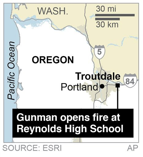 Map locates a shooting at a Reynolds High School in Troutdale, Oregon.; 1c x 1 1/2 inches; 46.5 mm x 38 mm