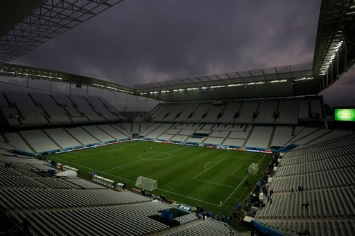General view at the Itaquerao Stadium during an official training session the day before the group A World Cup soccer match between Brazil and Croatia in the Itaquerao Stadium, Sao Paulo, Brazil, Wednesday, June 11, 2014. (AP Photo/Felipe Dana)