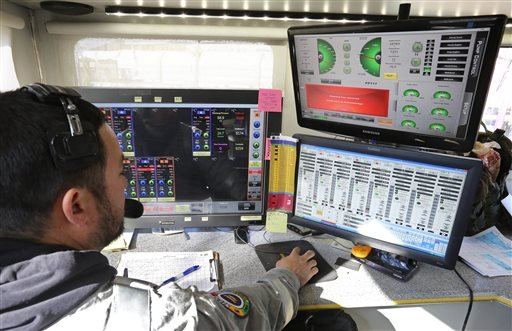 In this March 25, 2014 file photo, a technician inside a trailer monitors and directs the pressure and mix of water, sand and chemicals pumped during a hydraulic fracturing operation at an Encana Corp. well pad near Mead, Colo.