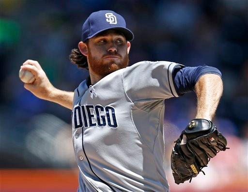 San Diego Padres starting pitcher Ian Kennedy delivers in the first inning against the New York Mets during a baseball game in New York, Sunday, June 15, 2014. (AP Photo/Kathy Willens)