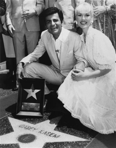 "In this April 27, 1981 file photo, Casey Kasem and his wife Jean smile as he receives his own ""Star"" on the Hollywood Walk of Fame in Los Angeles."