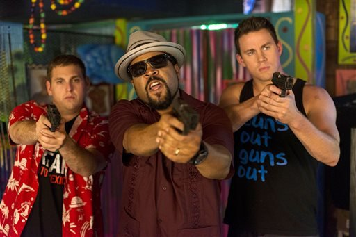 "This image released by Sony Pictures shows Jonah Hill, from left, Ice Cube, and Channing Tatum in Columbia Pictures' ""22 Jump Street."" (AP Photo/Sony Pictures, Glen Wilson)"