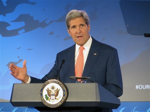 Secretary of State John Kerry addresses the Our Ocean conference, Monday, June 16, 2014, at the State Department in Washington. (AP)
