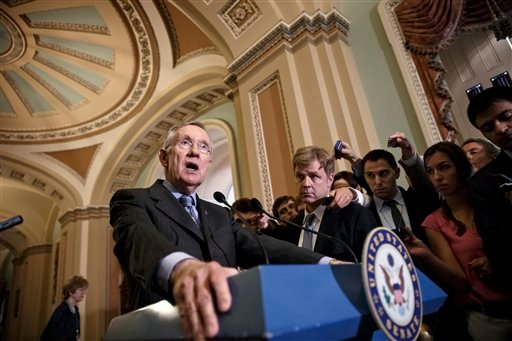 FILE - This June 10, 2014, file photo shows Senate Majority Leader Harry Reid of Nev. speaking to reporters about veterans health care on Capitol Hill in Washington after public outcry over lax care at Veterans Affairs health facilities. (AP)