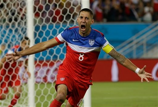 United States' Clint Dempsey celebrates after scoring the opening goal during the group G World Cup soccer match between Ghana and the United States.