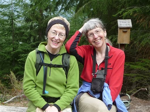 This undated image provided by Lola Kemp shows missing hiker Karen Sykes, right, with her friend Lola Kemp.