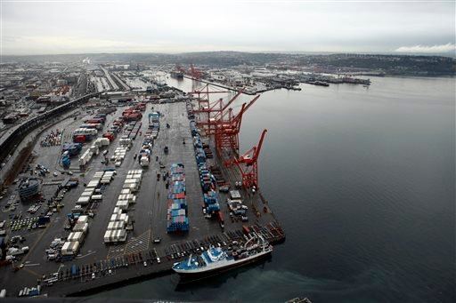 This Nov. 19, 2009 file photo shows shipping cranes at the Port of Seattle in downtown Seattle.