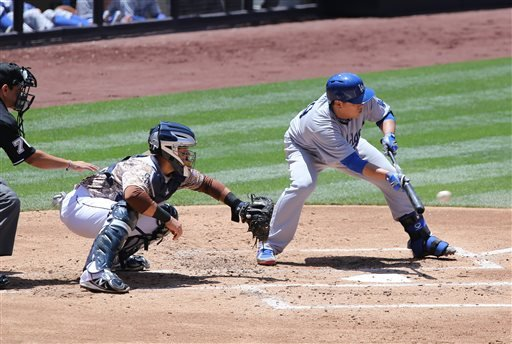 Los Angeles Dodgers starting pitcher Hyun-Jin Ryu bunts against the San Diego Padres during the second inning of a baseball game Sunday, June 22, 2014, in San Diego.