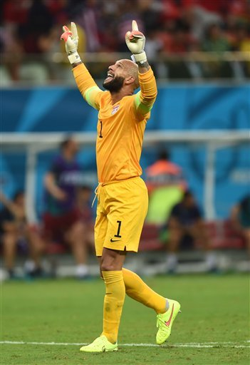 United States' goalkeeper Tim Howard celebrates after United States' Jermaine Jones scored a goal during the group G World Cup soccer match between the USA and Portugal at the Arena da Amazonia in Manaus, Brazil, Sunday, June 22, 2014.