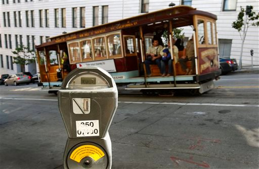 In this Oct. 27, 2009 file photo, a cable car passes a parking meter near San Francisco's financial district.