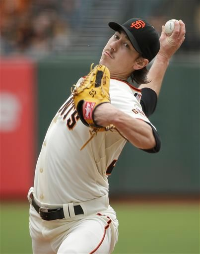 San Francisco Giants starting pitcher Tim Lincecum throws against the San Diego Padres in the first inning of their baseball game Wednesday, June 25, 2014, in San Francisco.