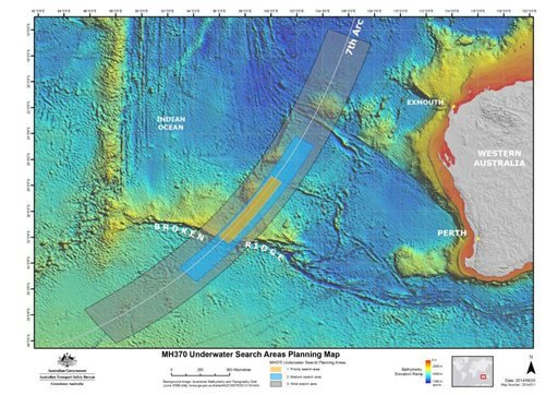 In this map provided on Thursday, June 26, 2014, by the Joint Agency Coordination Centre, details are presented in the search for the missing Malaysia Airlines Flight 370 in the southern Indian Ocean. (AP Photo/Joint Agency Coordination Centre)