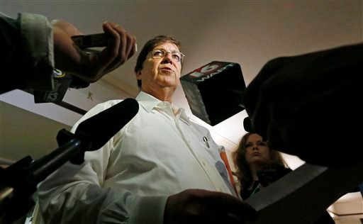 Hinds County Republican Party chairman Pete Perry tells reporters at a news conference at the county courthouse in Jackson, Miss., Friday, June 27, 2014 [...] (AP Photo/Rogelio V. Solis)