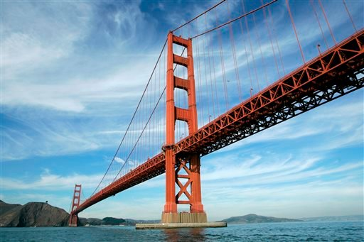 In this file photo from Nov. 15, 2006, the Golden Gate Bridge is shown in San Francisco. On Friday, June 27, 2014, Golden Gate Bridge officials are expected to approve a funding package for a $76 million suicide barrier. (AP Photo/Eric Risberg, File)