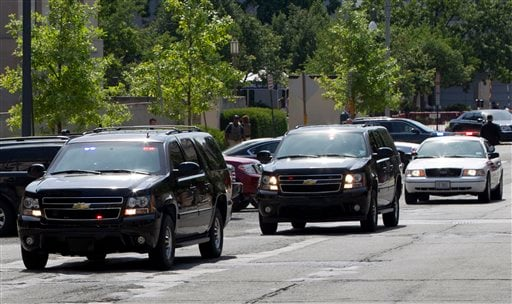 The motorcade transporting the Libyan militant Ahmed Abu Khattala, accused of masterminding the deadly Benghazi attack at the U.S. embassy, leaves the federal U.S. District Court in Washington Saturday, June 28, 2014.