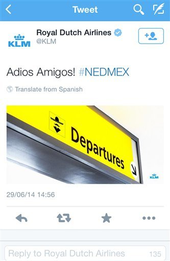 A screenshot of the KLM twitter account shows a tweet that appeared shortly after the Netherlands defeated Mexico in the World Cup in Brazil on June 29, 2014. (AP Photo/KLM twitter account)