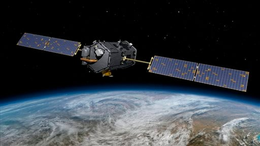 This May 15, 2014, artist concept rendering provided by NASA shows their Orbiting Carbon Observatory (OCO)-2.