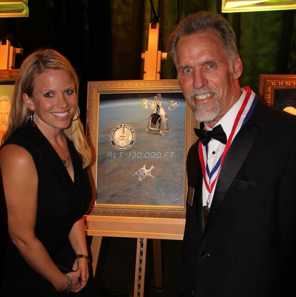 Natasha Stenbock with Art Thompson who was honored during SDASM's Legends of Flight 2013.