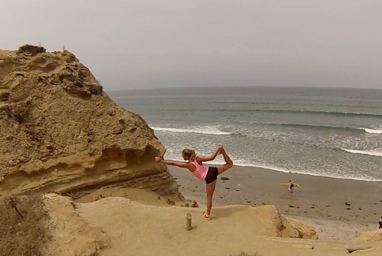 Stopping to do some yoga while I hiked the beach trail.