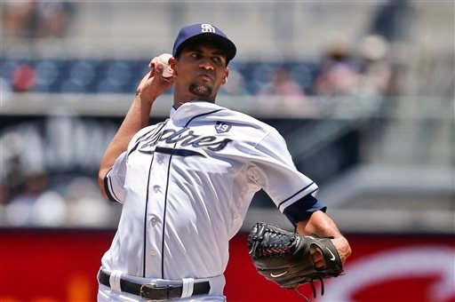 San Diego Padres starting pitcher Tyson Ross faces the Cincinnati Reds in the first inning of a baseball game Wednesday, July 2, 2014, in San Diego.