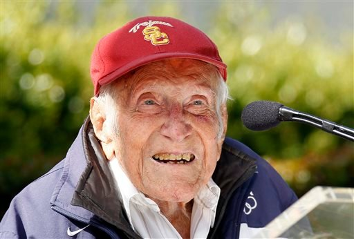 FILE - In a Friday May 9, 2014 file photo, Louis Zamperini gestures during a news conference, in Pasadena, Calif. (AP)
