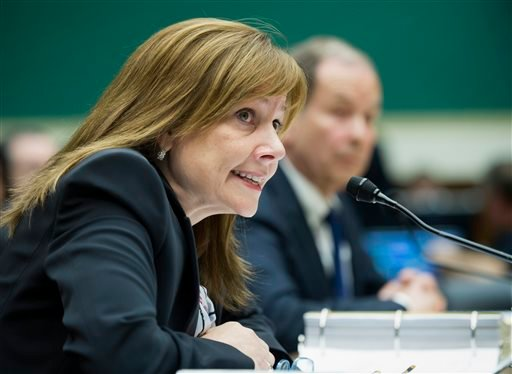 General Motors CEO Mary Barra testifies on Capitol Hill in Washington. Barra makes her second appearance before a Senate subcommittee investigating the company's handling of a defective ignition switch in small cars on Thursday, July 17, 2014. (AP Photo/C